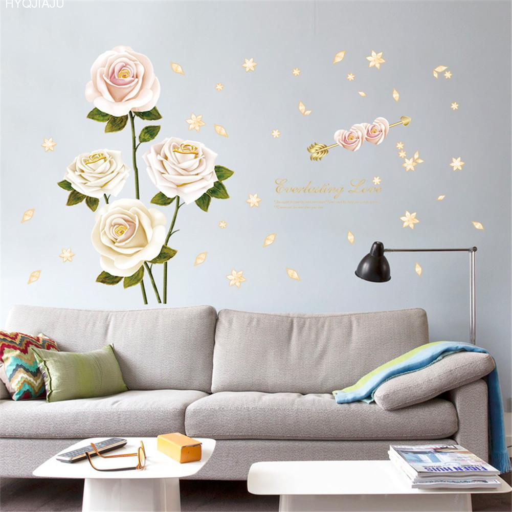 White Rose Bedroom Dining Living Room Wardrobe Study TV Background Decorative Wall Sticker