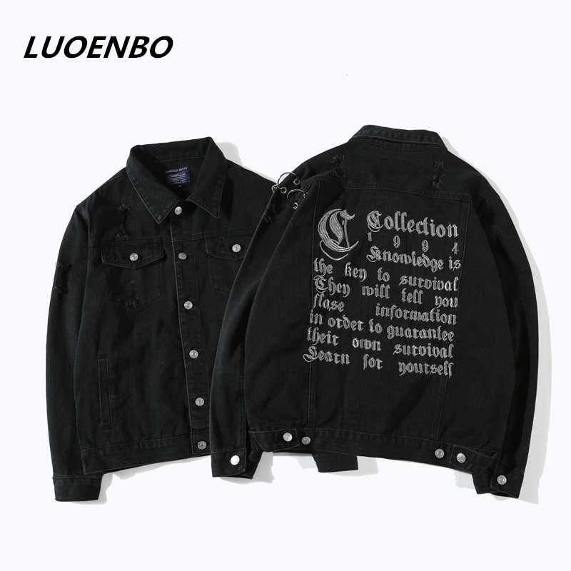 2018 Hip Hop rap Kanye West letter embroidery over Denim jacket pile Hole circle of iron chains black men Coat brand punk Rock