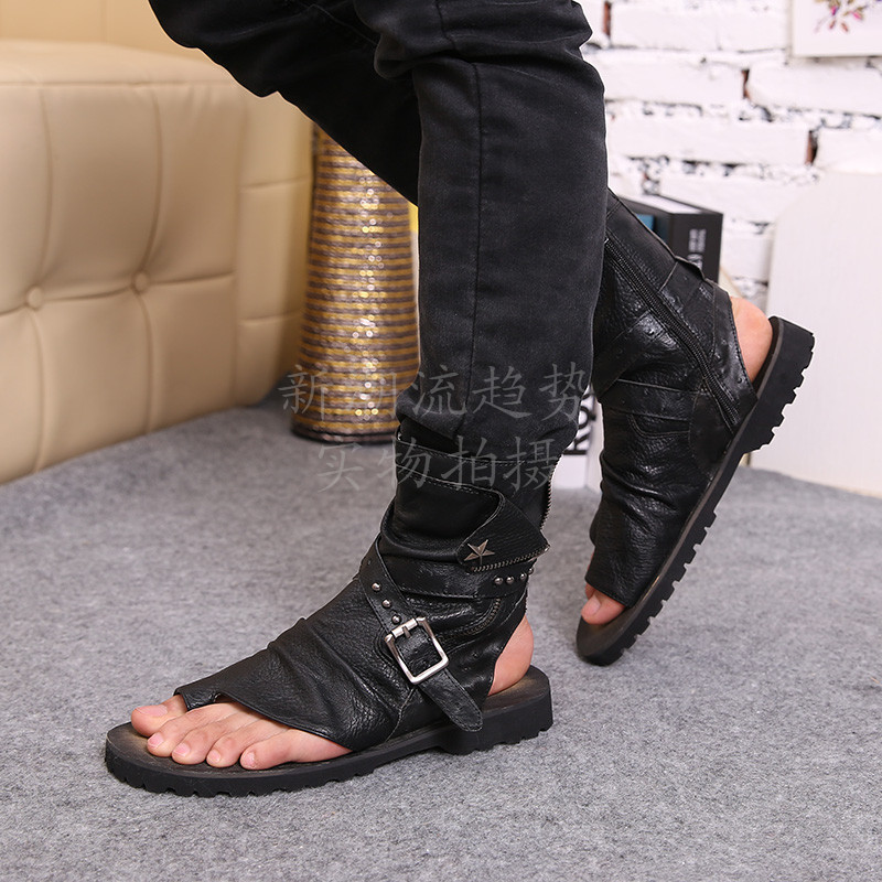2016 vente chaude d'été plage chaussures hommes sandales noir en cuir véritable tongs Rome style homme cool haute sandales - 6