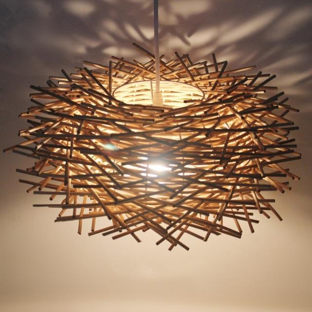 Bird's Nest Chandelier Lights Rattan lamp chandelier lighting ...