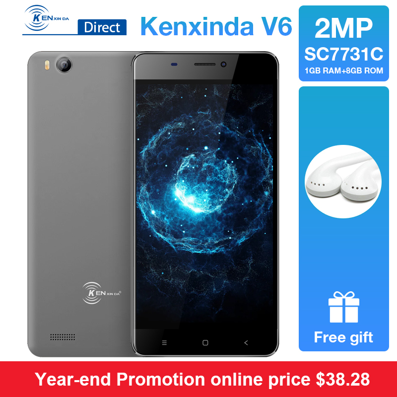 "Original Kenxinda 3G V6 4.5"" Smartphone Android7.0 1700mAh Battery 1.2Ghz 1G Ram 8G Rom SC7731C Quad Core Dual Sim Card+Earphone"