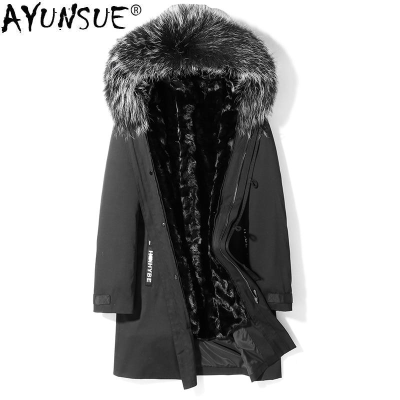 AYUNSUE Fur Parka Winter Coat Men Long Jacket Mink Fur Liner Warm Parkas Real Raccon Fur Collar Mink Jacket T-29-18001 KJ1542