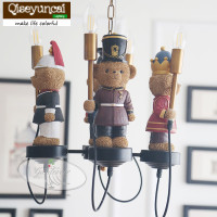 Qiseyuncai England Bear Legion Children's Chandelier Boy Girl Bedroom Child Home Improvement Lighting