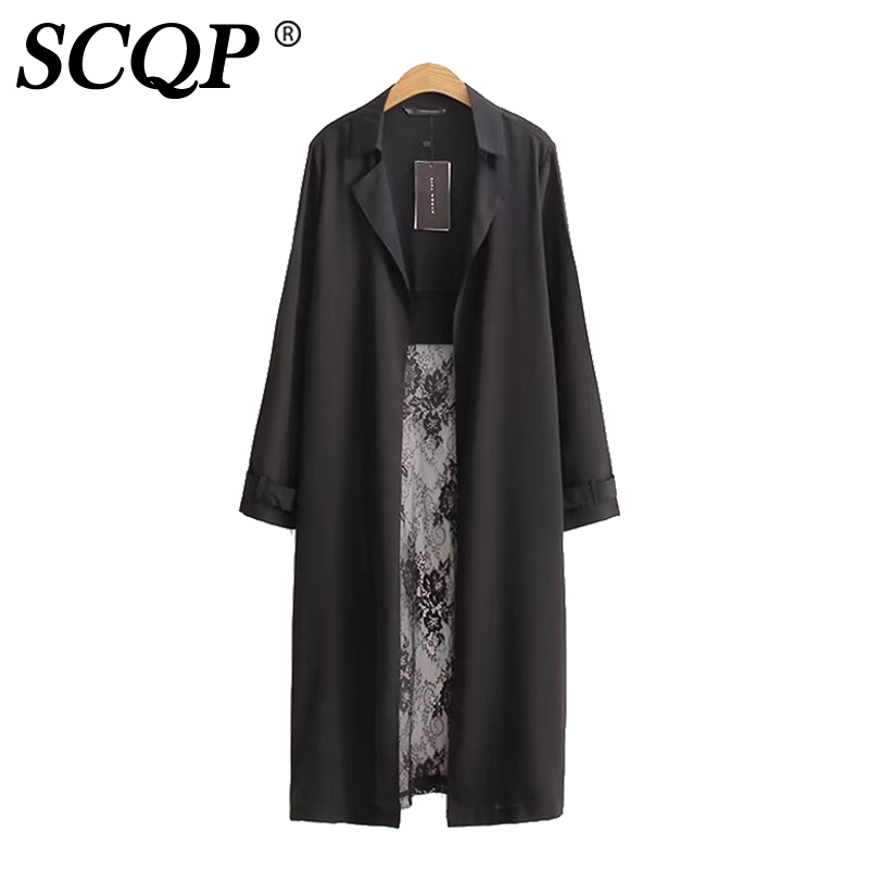 SCQP 2017 Black Long Cardigan Chiffon Lace Patchwork