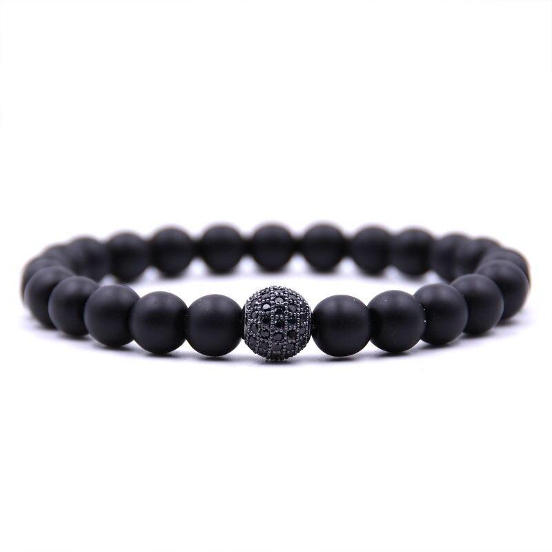 2018 new Fashion Black CZ Ball Men Bracelet Natural Stone Matte Beads Charm Bracelets Men Jewelry Yoga pulsera hombres Bijoux