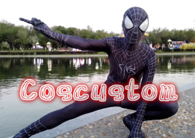 Coscustom High Quality Black Spider Man Cosplay Costume Suit Black Spiderman Costume Spandex Lycra with lenses Cosplay Costume