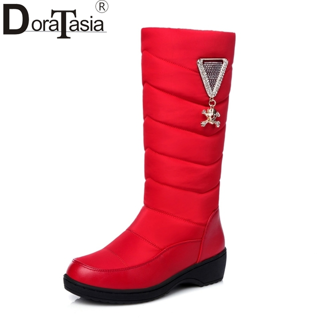 DoraTasia Big size 35-44 Fashion Women Snow Boots soft Low Wedges Round Toe Platform Warm Fur Winter Shoes Woman Med-calf