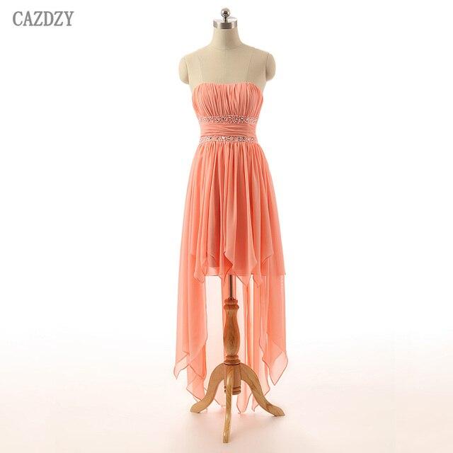 CAZDZY High Low Sleeveless Knee Length Bridesmaid Dresses Coral Color  Chiffon Women Summer Dress Real Photos 52e25b47c68c