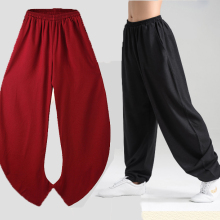 Новые эластичные льняные штаны для занятий йогой Тай Чи Кунг-фу