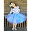 Аква фиолетовый девушки юбки свободного покроя длиной до колен летний стиль прекрасный пушистый мягкого фатина девушки юбки юбка ручной PT225