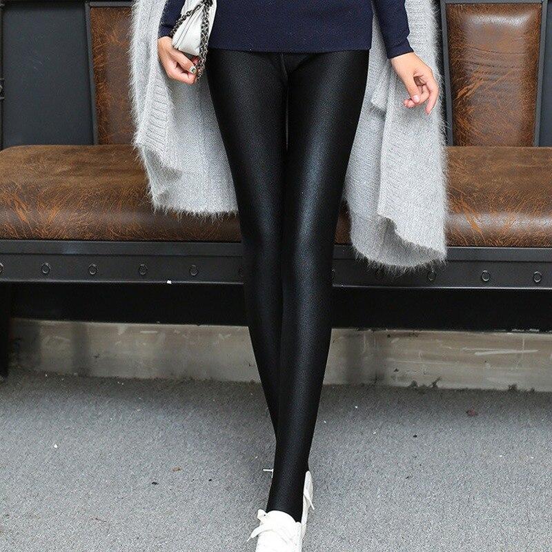 ROPALIA 2018 Fashion Women Shiny   Leggings   Thin Full Ankle Length Black   Leggings   Stretchy High Waist Satin Basic   Leggings