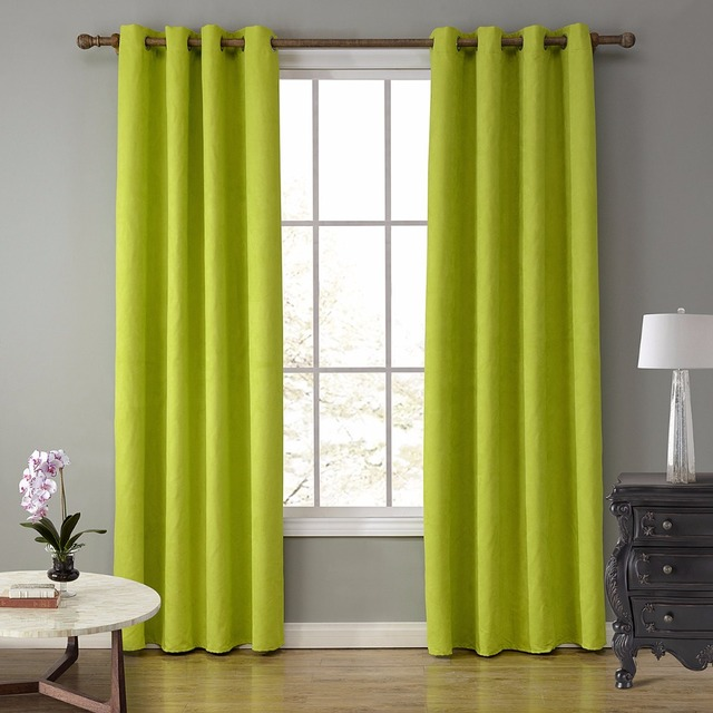 Suede Fabric Window Curtains Black Out Blinds Curtains For Bedroom