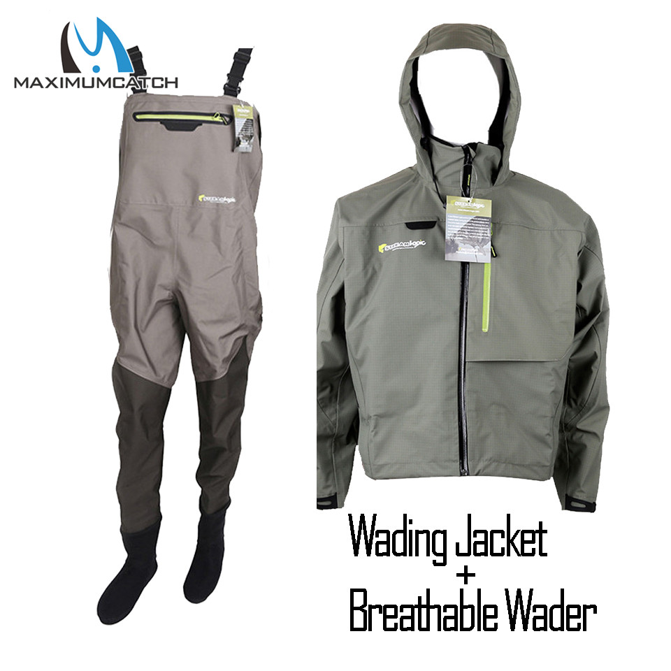 Maximumcatch Outdoor Stocking Foot Light Weight Breathable Fly Fishing Wader Waterproof Wading Pants Fishing Wader Jacket