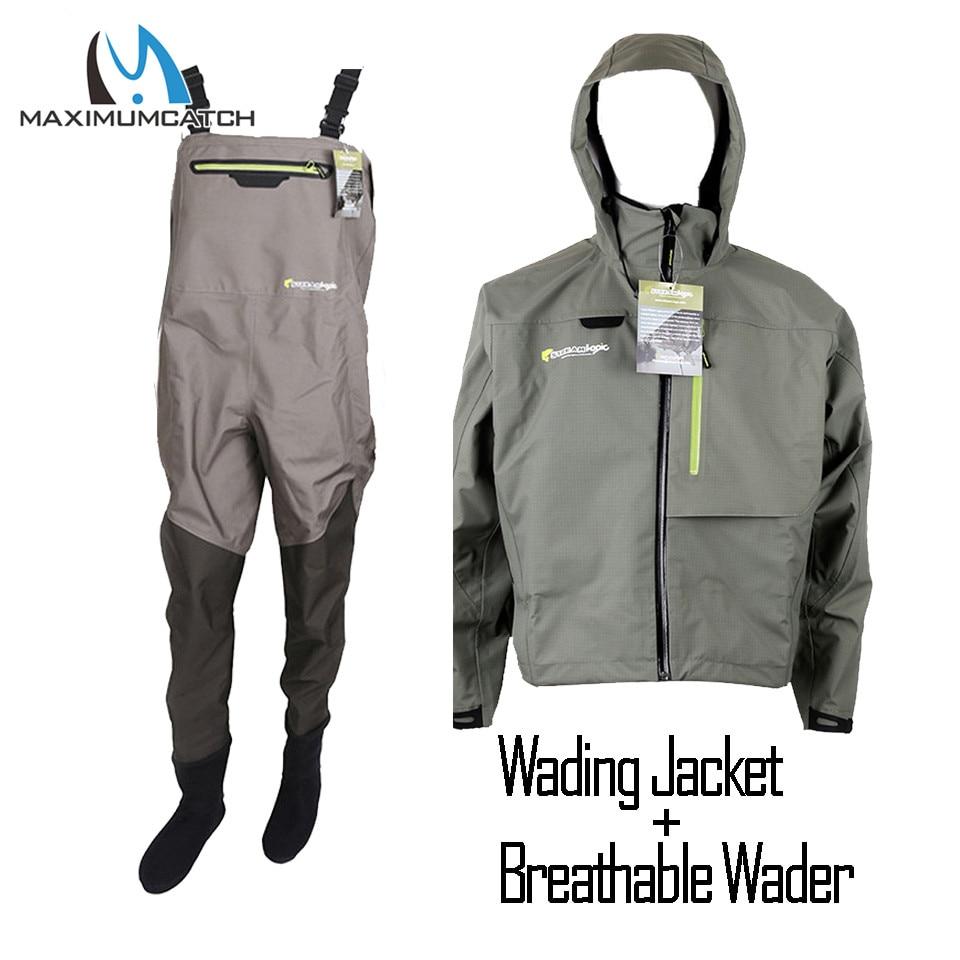 Maximumcatch Outdoor Stocking Foot Light Weight Breathable Fly Fishing Wader Waterproof Wading Pants Fishing Wader Jacket