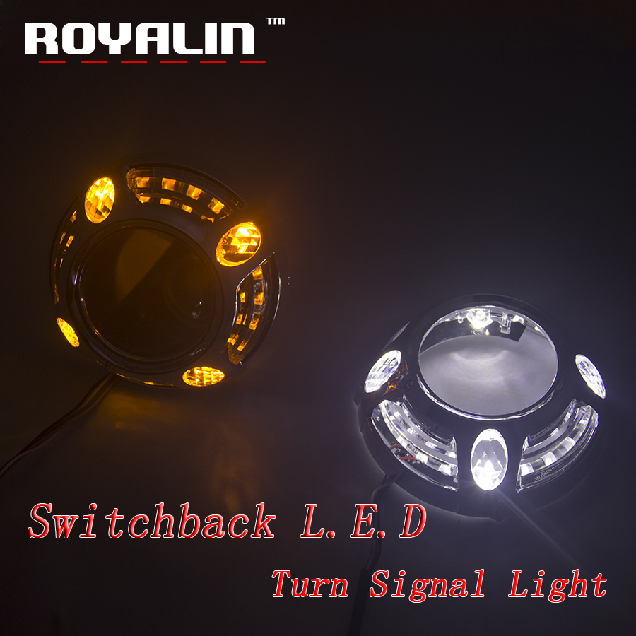 ROYALIN 3.0 Metal Projector Lens H1 For for Panamera Auto Headlight H4 H7 DRL Switchback LED Angel Eyes White Red Bule Yellow
