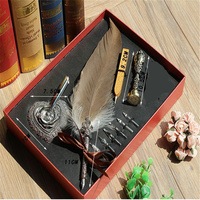 Gift Box Vintage Harry Potter Metal Curved Natural Feather Pen Set With 5 Nibs Pen Stand