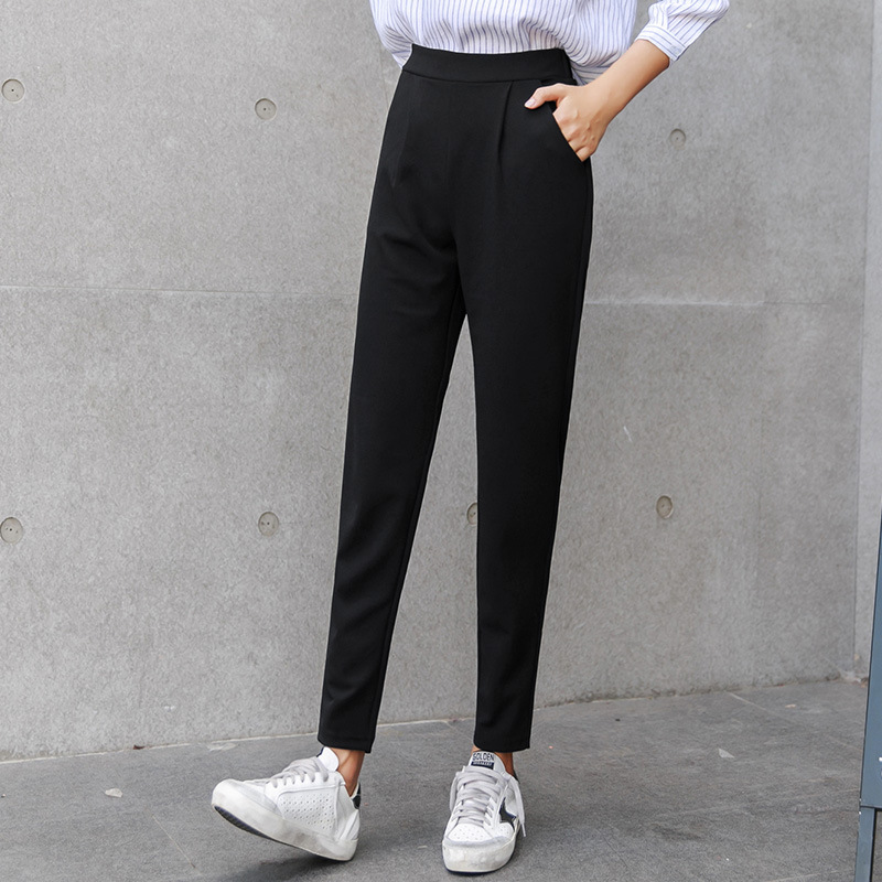 48be00455c7 Aselnn Women Harem Pants 2017 Spring New Casual Slim Plus Size Elastic Waist  Ladies Trousers Pocket Black Office Pants