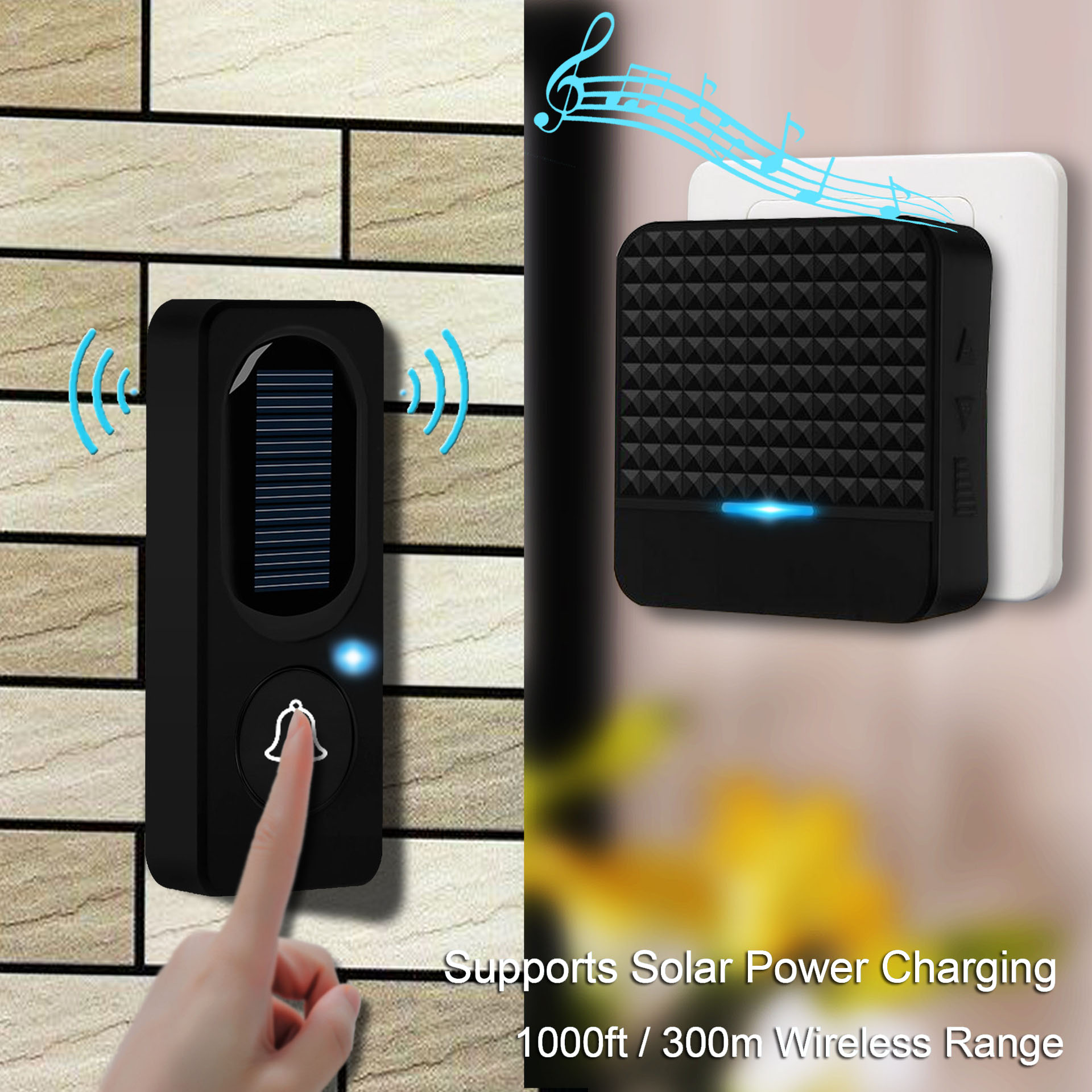 BOYING Solar Doorbell Home Security Welcome Wireless Waterproof Songs Button 1 Receiver 300M Supports Solar Power Charging