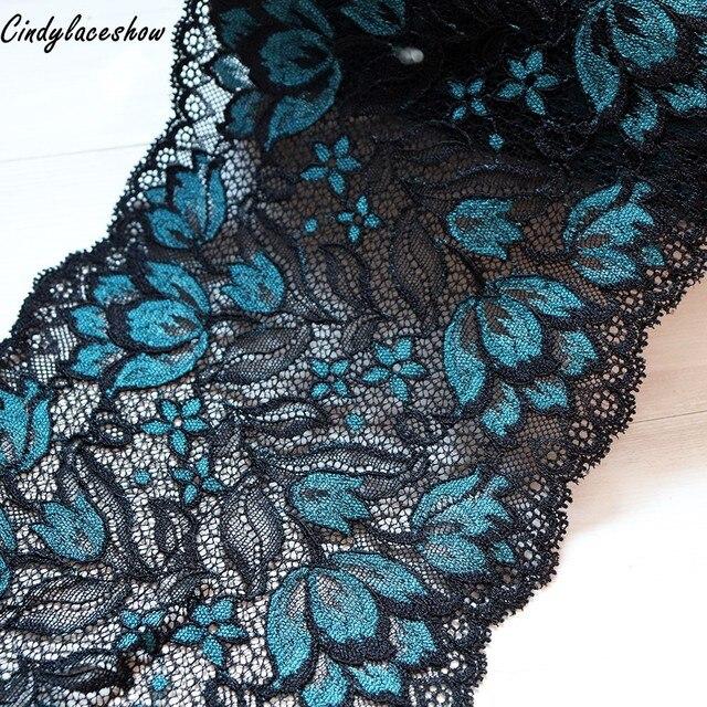 """16 ס""""מ רחב הלבשה תחרה אביזרי שחור כחול אלסטי למתוח תחרה Applique לקצץ סרט תפירת בדים תחתוני בגד בגדים"""