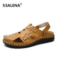 Size 38-44 Handmade Beach Sandals Men Breathable Non-Slip Gladiator Flats Men Summer Mesh Quick-Drying Footwear Shoes A864