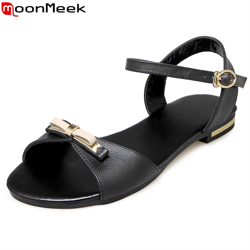 MoonMeek 2017 Genuine leather women sandals solid color flat summer sandals bowtie fashion buckle strap ladies shoes size 34-43 2015 summer new fashion and leisure solid cool women sandls flat buckle knot women sandal breathable comfort women sandals e309