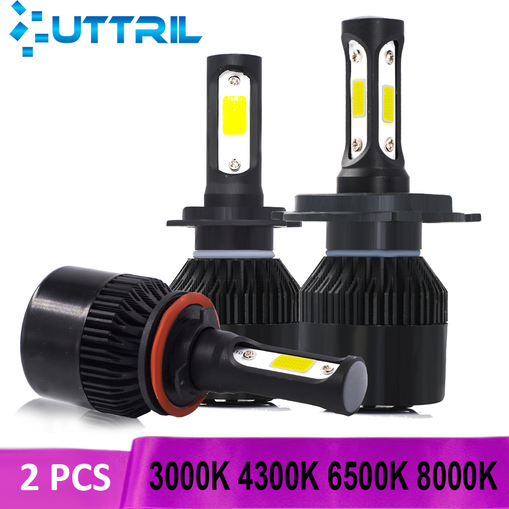 Uttril 2 Pcs LED H4 H7 H11 3000K 4300K 6500K 8000K Car Headlight LED H8 H9