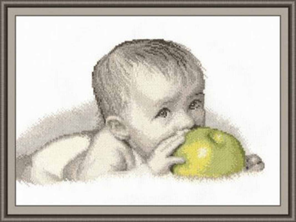 Oneroom Needlework,DIY Cross Stitch,Sets For Embroidery Kits,11CT&14CT,Eat Apple Baby