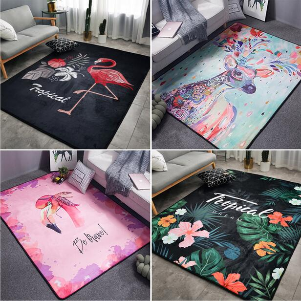155 200CM Super Large INS fashion Soft Flannel black and white Rug thick soft living room
