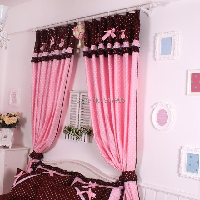 Korean Cute Polka Dot Window Shades, Pink Cotton Lace Custom Made Curtains,  Romantic Rustic