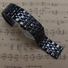 Alta calidad de acero inoxidable negro correa de Metal pulido correas pulsera plegable implementación Buckle14mm 16 mm 18 mm 20 mm 22 mm