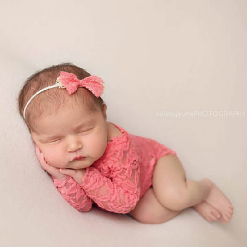 Baby Lace Romper Newborn Photography Props Infant Photo Costume Deep V Back Lace Jumpsuit Headband Set Photo Shooting Prop