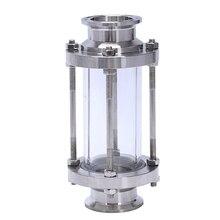 ב קו Sight זכוכית עם מהדק סוף, זרימת סניטרי ישר Sight זכוכית SUS316 1.5 אינץ Tri קלאמפ סוג (זרימת צינור OD 38MM)