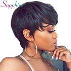 SAPPHIRE Hair Short Human Hair Wigs With Baby Hair Bang Non Lace Wig Brazilian Bob Straight Wig For Women Natural Color