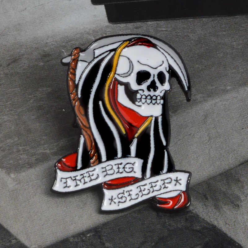 Broches de vampiro de Xio Mara, pin de esqueleto, pin de Calavera, Joyería de Halloween vaquero punk, colección de pins negros para regalo para Amiga