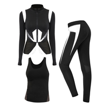 BESGO Sports Suit For Female Running Jacket&Yoga Sleeveless Shirts&Sport Leggings Pants Yoga Set Hit Color Breathable Sportswear