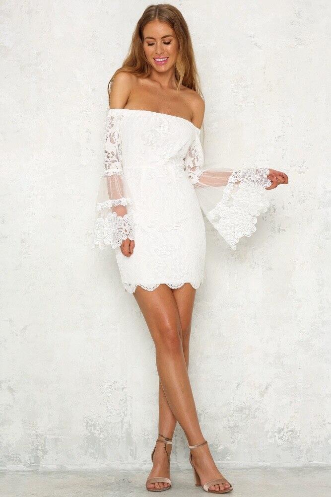 HTB1WizwkHsTMeJjSsziq6AdwXXar - Slash Neck Lace Flare Wrist Sleeve Women Summer Dresses Sexy Stitching Sheath Backless Above Knee, Mini Evening Party Dess