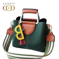 coofit Delicate Women's Handbag Vintage PU Leather Shoulder Bag With Sta Pendant Crossbody Bag For Ladies With 2 Straps Newest