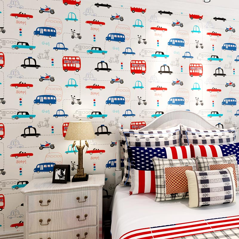 Cartoon Car Childrens Room Bedroom Wallpaper For Walls Roll