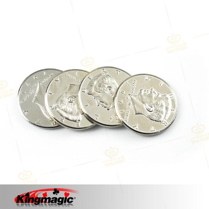 Dvostruko lice Magic Coin trik pola dolara 2 strane glave Magic - Klasične igračke - Foto 3
