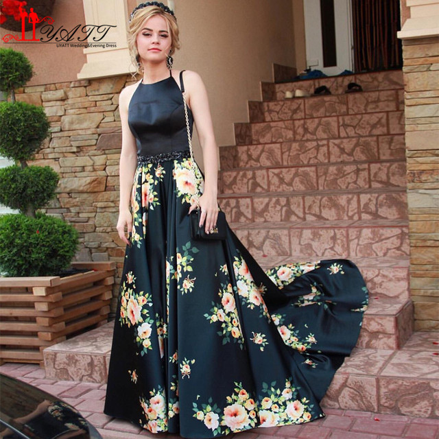 834f29d35e68 Black Flower Printed Evening Dress Hater Floral Print Prom Dresses 2017  A-line Long Sexy Backless Party Gowns Vestidos de Gala