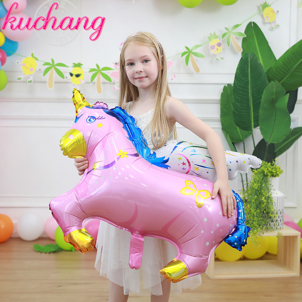 50pcs 100 88cm 75 62cm Size Pegasus Horse Foil Balloons Baby Birthday Wedding Party Supplier Decoration