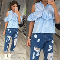 Off Shoulder Ruffles Blouse 2016Butterfly Sleeve Turn-down Collar Shirt Sexy Women Tops Candy Color Sweet Boho Blouses Plus Size
