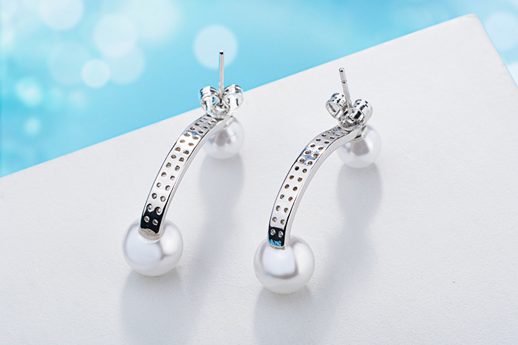 100 925 sterling silver fashion imitation pearl shiny crystal ladies long stud earrings women jewelry female Christmas gift in Stud Earrings from Jewelry Accessories
