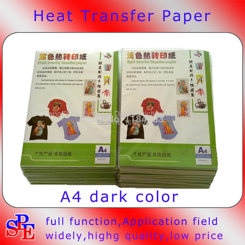 Free ship20pcs a4 size transfer paper copy paper for heat for T shirt transfer paper for dark fabrics