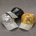 6pcs/lot New Fashion Unisex Shinning Sequins Baseball Cap Costume Dance Party Rhinestones Decro Peak Hats