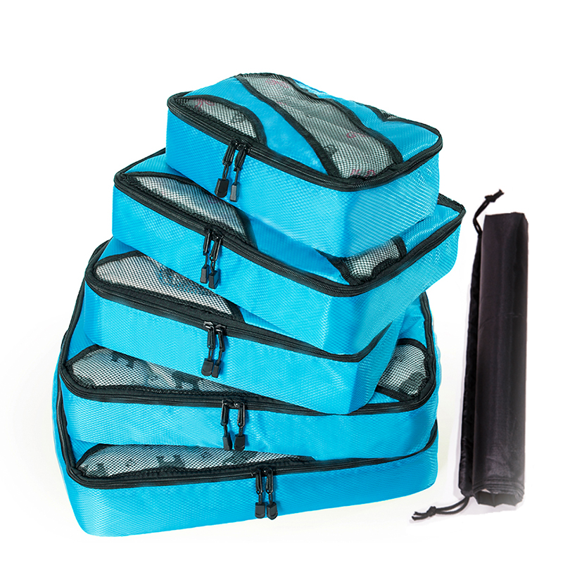 QINYIN  Packing Cube Organiser Travel Bags 5PCS/Set 2019 New High Quality Oxford Cloth Travel Mesh Bag Luggage Organizer Bags