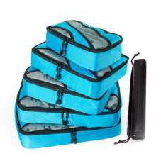 QINYIN  Packing Cube Organiser Travel Bags 5PCS/Set 2019 New High Quality Oxford Cloth Mesh Bag Luggage Organizer