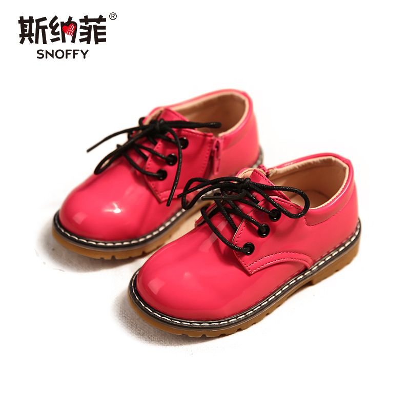 2018 spring new bright leather waterproof big shoes boys and girls casual shoes 21-36 yards