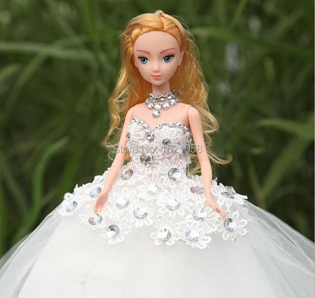 2015 Top Quality Handmade New Glitter Gemstone Cartoon Bride Doll in Trailing  Wedding Dress 6 Joints a0d731a94842