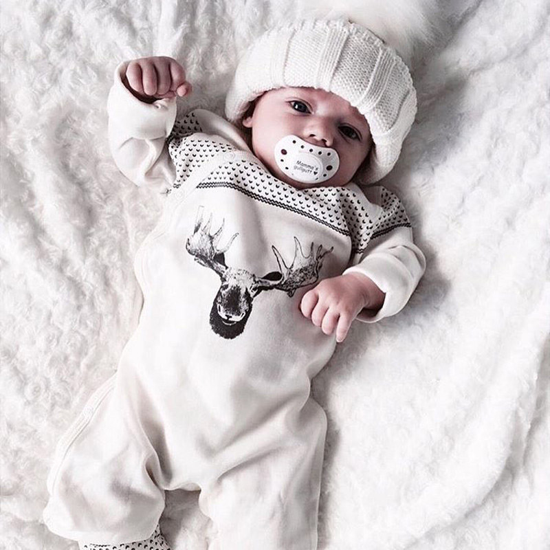 Kacakid 1 Pcs Baby Boys Cute Romper Newborn Baby White Deer Print Long Sleeve Baby Christmas Clothes Romper Playsuit Y6